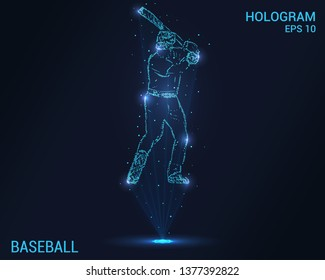 Baseball hologram. Holographic projection of a baseball player. Flickering energy flux of particles. Scientific baseball design