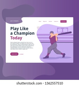 Baseball Homerun Illustration, perfect for landing page, web header, feature, presentation, etc. suitable for Baseball game presentation, sport and many more