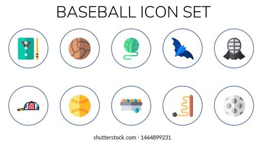 baseball icon set. 10 flat baseball icons.  Simple modern icons about  - billiard, cap, ball, bat, kendo