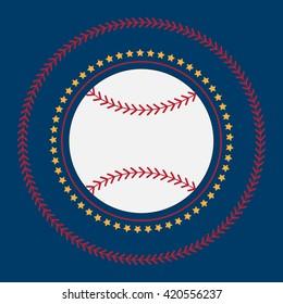 Baseball icon vector flat illustration. Baseball club logo. Baseball emblem. The symbol of a baseball on a dark background, Stitch and stars