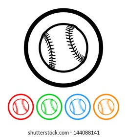 Baseball Icon Vector with Four Color Variations