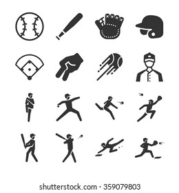 Baseball icons. Included the icons as batter, throw, ball, baseball field, home run, hand sign and more.