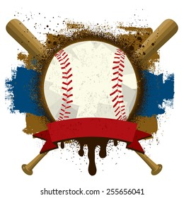 Baseball Insignia A baseball with a text banner over baseball bats and a grunge background.