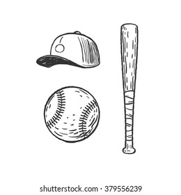 baseball inventory, ball, cap and bat isolated on white, vector graphic illustration.