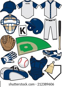 Baseball Items. Equipment used in the sport of Baseball.