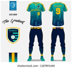 Baseball jersey, pants and socks template design. Blue and green gradient baseball uniform t-shirt mock up. Raglan t-shirt sport in front and back view. Flat baseball logo design design. Vector.