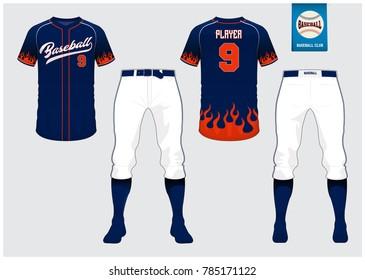 Baseball jersey, sport uniform, raglan t-shirt sport, short, sock template. Baseball t-shirt mock up. Front and back view sport uniform. Flat baseball logo on blue label. Vector Illustration.
