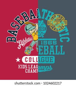 Baseball kids college league champ, vector artwork for children wear with print patch grunge effect in separate layer