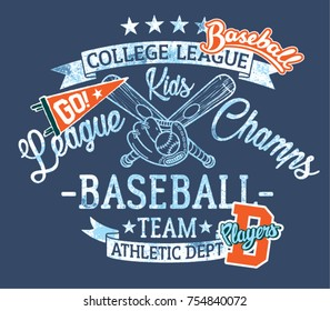 Baseball kids team  league champs, vector print for children wear with embroidery patches grunge effect in separate layer