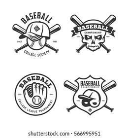 Baseball labels badges emblems logos set. Baseball glove, bat, helmet and cap. National american sport. Creepy skull drawing. Vector vintage illustration.