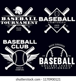 Baseball labels badges logos set. National american sport. Vector vintage illustration. Emblems with balls and crossed bats. Sports club emblems. Design for team badge.