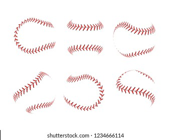 Baseball lace ball illustration isolated symbol set. Vector baseball background sport design.