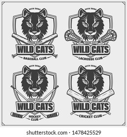 Baseball, lacrosse, cricket and hockey logos and labels. Sport club emblems with wild cat. Print design for t-shirt.