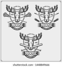 Baseball, lacrosse and hockey logos and labels. Sport club emblems with moose. Print design for t-shirts.