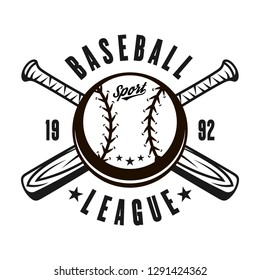 Baseball league vector emblem, badge or logo with ball and two crossed wooden bats isolated on white monochrome illustration