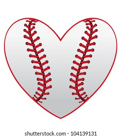 Baseball leather ball as a heart for sport emblem design, such logo. Jpeg version also available in gallery
