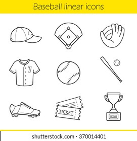 Baseball linear icons set. Isolated baseball game equipment thin line illustrations. Baseball player uniform cap, shirt and shoes. Baseball bat and ball contour symbols. Vector isolated drawings