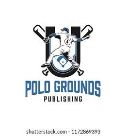 Baseball logo design with a male player, field and baseball stick