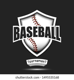 Baseball logo design template.  ball and shield with vintage lettering on an isolated background. Print on t-shirt graphics. Vector illustration