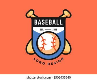 Baseball logo design vector. vintage style logo.