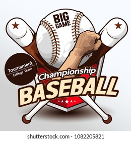 Baseball logo, hand drawn, drawing image vector illustration.