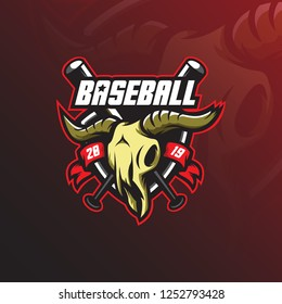 baseball logo mascot  design vector with modern illustration concept style for badge, emblem and tshirt printing. baseball illustration with head goats and sticks.