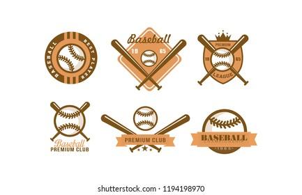 Baseball logo set, retro emblem for baseball club, premium league label, best player badge vector Illustration on a white background
