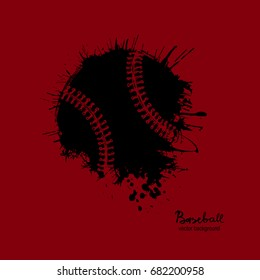 Baseball Logo, sketch, grunge, abstract ball, spray, dirty design element. Vector illustration on a T-shirt, poster, flyer, sports cover.