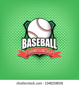Baseball logo template design. Black and White. Vintage Style. Isolated on green background. Vector illustration
