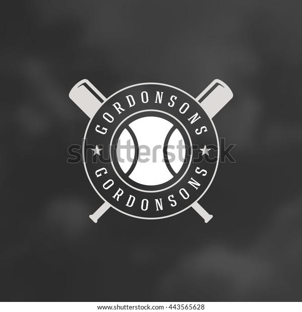 Baseball Logo Template. Vector Design Element Vintage Style Label Retro illustration. Ball and Bat Silhouettes.
