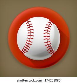Baseball, long shadow vector icon