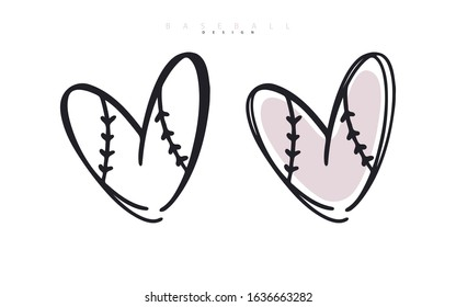 Baseball love. Heart for Valentine's Day. Sports vector illustration. Logo for poster design, postcard, print for t-shirts.