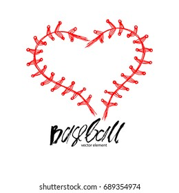 Baseball love, lettering, calligraphy, abstract heart. Print design for the shirt, poster, cover.