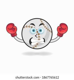 Baseball mascot character with boxing gear. vector illustration