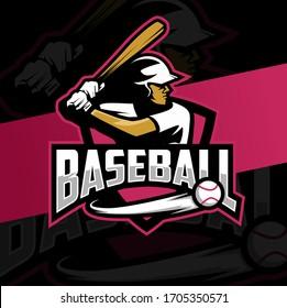 baseball mascot logo design with batting man