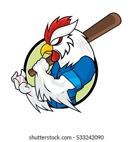 Baseball Mascots - White Rooster