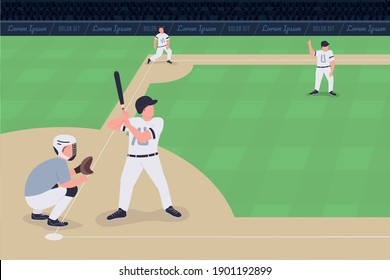 Baseball match flat color vector illustration. Competition between two teams. Proffessional baseball team players 2D cartoon characters with huge stadium full of people on background