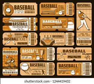 Baseball match tickets, championship and tournament, stadium admission. Vector sporting items, glove and ball, bat and helmet. Trophy cup and player, team cheer, play field and tribune