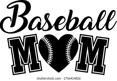 Baseball mom quote. Baseball ball heart