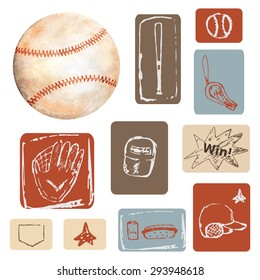 Baseball objects collection, set made in watercolor and doodle technique including ball, cap, glove, hotdog, whistle. Baseball icon, logo, banner, label, card