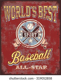 Baseball Obsolescent Metal vector for T-shirt printed illustration and posters