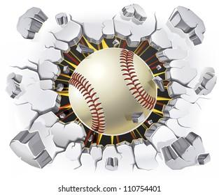 Baseball and Old Plaster wall damage. Vector illustration