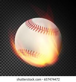 Baseball On Fire. Burning Style. Illustration Isolated On Transparent Background