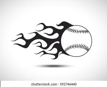 Baseball on Fire Logo. Fireball icon Vector Illustration. Sport Concept.