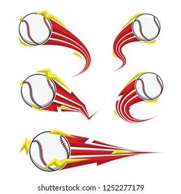 Baseball on symbols red thunder speed set. logo for sports design. Vector illustration.