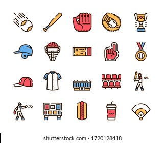 Baseball outline icons set on white background. Sport competition signs in thin line style. Baseball players, sports uniform and stadium design elements. Professional league vector pictograms.