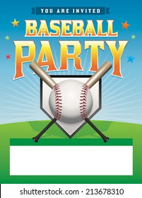 A baseball party flyer illustration. Room for copy space. Vector EPS 10. EPS file contains transparencies and gradient mesh. File is layered. Fonts have been converted to outlines.