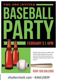 A baseball party flyer template illustration with beer, ball, and bat. Room for copy. Vector EPS 10 available.