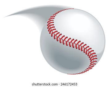 Baseball pitch, hit or throw leaving a blurred path.