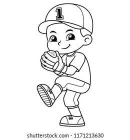 Baseball Pitcher Boy Ready To Throw BW.